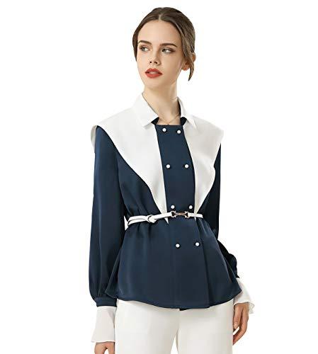 Camisas Mujer Blusas Mujer Invierno Blusas Mujer Tallas Grandes Body Camisa Mujer Blusa Mujer Talla Grande Camisa Tirantes Mujer Camisas Mujer Tallas Grandes Blusas De Vestir De Mujer Blanco Azul XL
