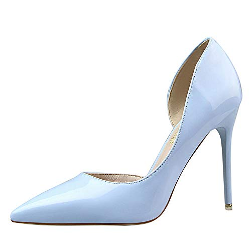 Damen High Heel Stachelschuhe Party Work PU Glatt Kabel Elegant Dekolleté Sexy Disco High Heels Spitz 10,5cm Braut High Heels 38 EU Hellblau