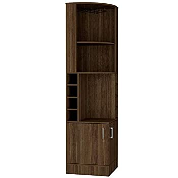 BOWERY HILL Corner Bar and Wine Cabinet in Weathered Oak