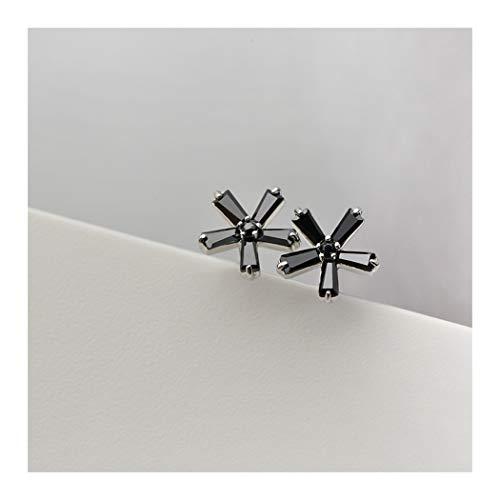 YOYOYAYA S 925 Silber Ohrringe Damen Accessoires Minimalistisch Fashion Schwarz Fünf Blütenblätter Blumen Geschenke Delikatesse Mini