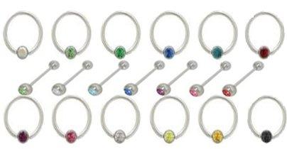 Jeweled Bauch Bunte Ringe Pack für Body Piercing
