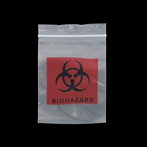 Bolsas con Cierre Zip Transparentes Bolsas de Plástico Resellables Bolsa Cierre de Cremallera de Polipropileno Reutilizable Biohazard Bolsa de muestra para embalaje de envío 100 Piezas