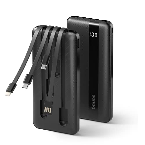 SANAG Power Bank con Cavo, Batteria 10000mah, Caricatore Portatile con 4 Cavi di Ricarica Integrati Type-C, Cavo Micro USB per Tutti I Telefoni Cellulari e Tablet (Black)