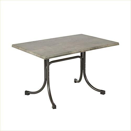 Acamp Gartentisch Boulevard | Balkontisch klappbar | Anthrazit/Cemento Grigio | 120x80x72cm | Gestell aus wetterfest beschichtetem Stahl | mit Niveauausgleich | Tischplatte aus Topalit