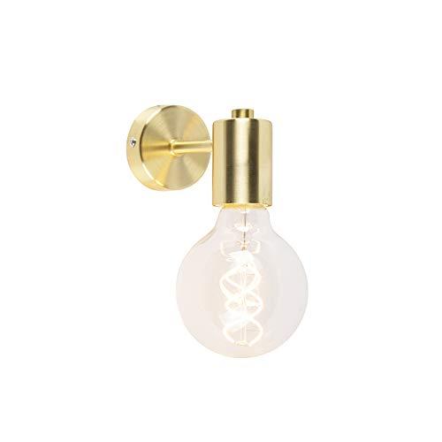 QAZQA - Design Art Deco Wandleuchte Gold | Messing - Facil 1 | Wohnzimmer | Schlafzimmer | Küche - Stahl Zylinder - LED geeignet E27
