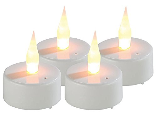 Lunartec Elektro Teelichter: LED-Teelichter mit Luftzugsensor und beweglicher Flamme, 4er-Set (LED Teelichter zum Auspusten)