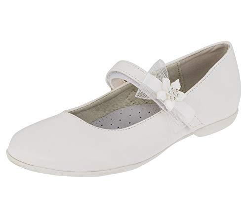 Giardino Doro Edle Festliche Innen Leder Kinder Mädchen Schuhe Ballerinas mit Klettverschluss M524ws2 Weiß 37 EU