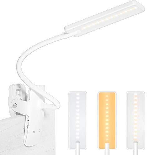 Leselampe Bett Klemme,24 LED Buchlampen USB Wiederaufladbar Klemmleuchte 3 Farbtemperatur und 3 Helligkeit Dimmbar 360° Flexibel Klemmlampe Augenschutz Nachttischlampe für Nachtlesen, Büro, Buch, Bett