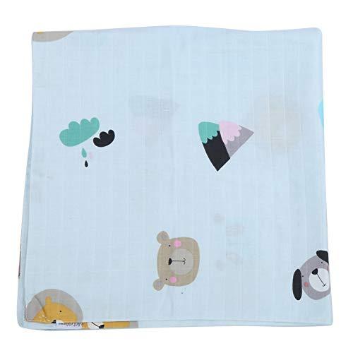 Toalla de baño para bebés, toallas para bebés y paños para lavarse, para bebés y recién nacidos para mantener al bebé seco y caliente(Blue small animal head, Blanket 75 * 75)