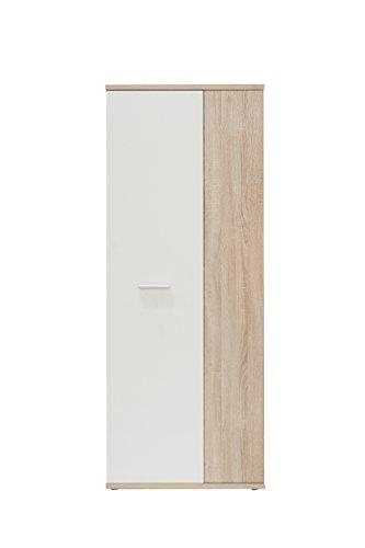 FORTE Net106 Schuhschrank, Holz, sonoma eiche + weiß, 68.90 x 34.79 x 179.1 cm