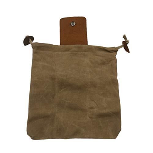 Zuoye Riñonera de lona con cubierta de cuero y hebilla plegable resistente bolsa de herramientas con cordón para acampar al aire libre