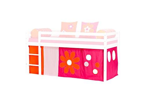 Hoppekids gordijnenset incl. gordijnen, draadkabel voor halfhoogslaper, speelbed, afmetingen 90 x 200 cm, roze, textiel, roze, 200 x 90 x 72 cm