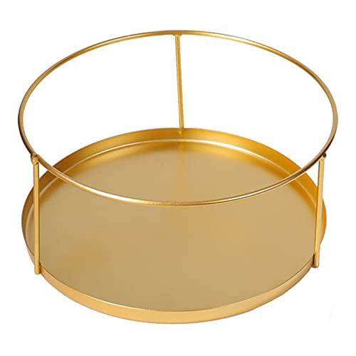 Petit Plateau de Bijoux Round Little Bijoux Plateau de salles de Bain Placard Argent Organisateur Titulaire de Bijoux et Plateau cosmétique (Color : Gold, Size : 21x10cm)