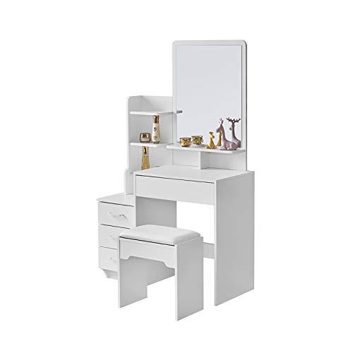 KJ Coiffeuse avec Miroir et Tabouret, Table de Maquillage, avec 4 tiroirs et 5 Rangement,Coiffeuse Maquillage, Style Moderne, maquilleuse Meuble avec Miroir