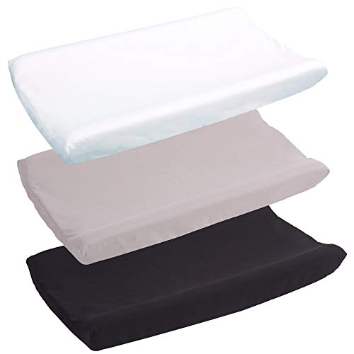 Belsden 3 Pack Microfiber Soft Changing Pad Cover with 2 Considerate Safety Belt Holes Durable Diaper Change Table Sheet Set for Baby Boys Girls 16#039#039x32#039#039x8#039#039 White amp Grey amp Black