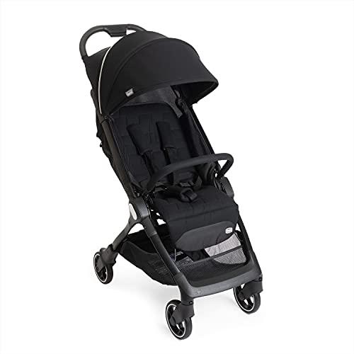 Chicco We - Cochecito plegable ultraligero de 0 meses a 22 kg, silla de viaje reclinable con posición de descanso, correas acolchadas, cierre compacto, funda y protección para la lluvia, color negro