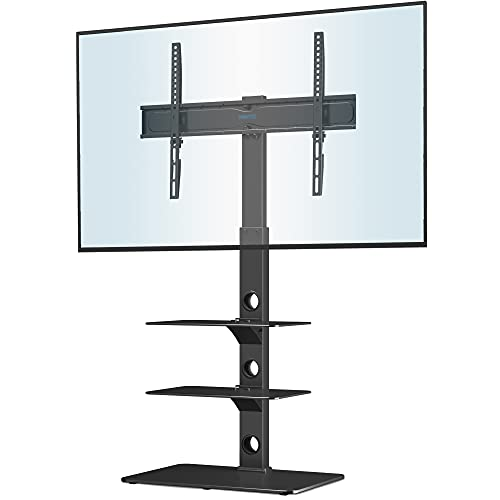 BONTEC Universal Floor TV Stand for 30-70 inch LED OLED LCD Plasma Flat Curved Screens, Height Adjustable Tall TV Stand with 3-Tier Tempered Glass Shelves up to 40KG, Max VESA 600x400mm