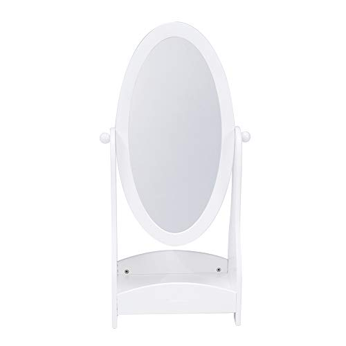JOLIE VALLÉE TOYS & HOME Crown Kids Wood Floor Standing Mirror, Full Length White Oval Body Mirrors Dressing Mirror Swivel Wood Cheval with Storage for Girls, Kids Bedroom Furniture