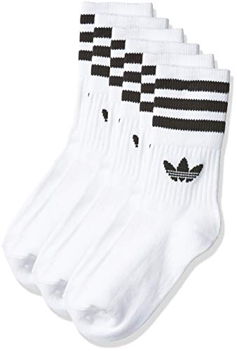 adidas Mid Cut Solid Crew 3 Pack, Socks Uomo, White/Black, 39-42