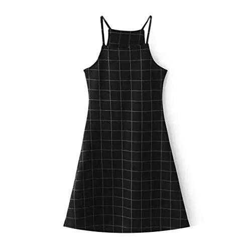Fontsime セクシーな背中の開いたドレスAラインブレーススカートヴィンテージチェック柄ペイント膝上ドレス女性の女の子のためのノースリーブの黒いドレス