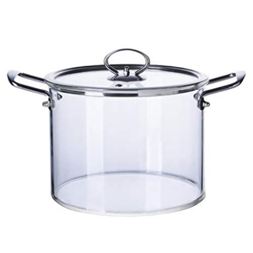 Pot en verre avec couvercle, marmite de cuisson transparente en borosilicate, casserole à lait à la main épaisse et polyvalente résistante à la chaleur, poignée en acier inoxydable