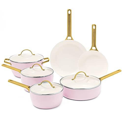 GreenPan Reserve Healthy Ceramic Nonstick Cookware Pots and Pans Set, 10 Piece, Blush Pink