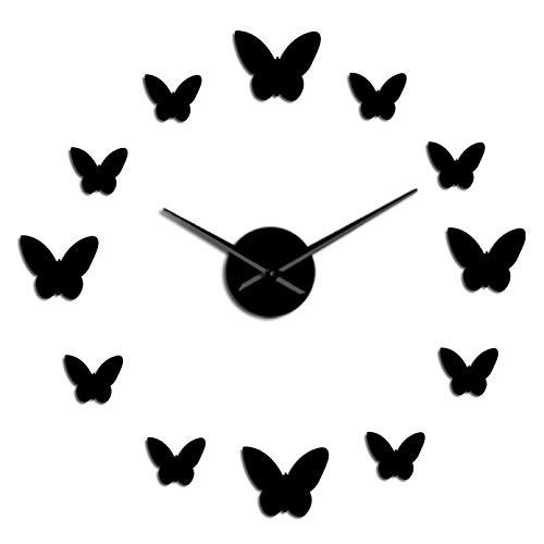 YQMJLF Reloj Pared DIY 3D Grande Reloj de Pared Grande silencioso DIY sin Marco Reloj de Pared con Mariposas con Espejo 3D Reloj Sala de Estar Dormitorio decoración del hogar Reloj Grande Negro