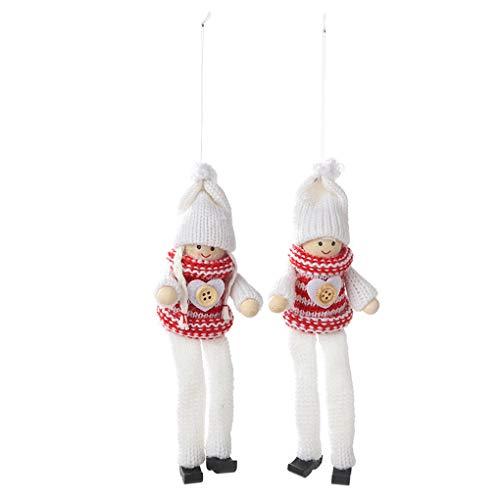 rongweiwang 2pcs de Navidad de Punto Largas Patas marioneta de la muñeca de Punto de Navidad Colgante de Pata Larga Ornamentos Colgantes de la decoración del hogar del árbol