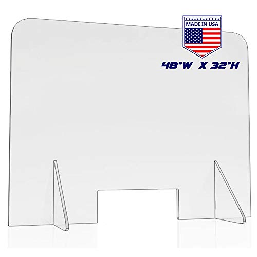 Sneeze Guard for Counter and Desk, Freestanding Clear Acrylic Shield for Business and Customer Safety, Barrier Against Sneezing & Coughing (48'x32')