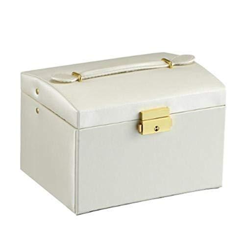 Nouveau Faux Bijoux en Cuir boîte FashionNecklace Boucle d'oreille Bracelet boîte de Rangement Cabinet (Couleur : White)