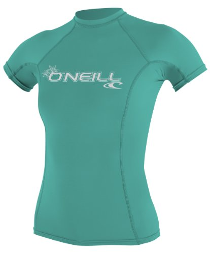 O'Neill Women's Basic 50+ Skins Short Sleeve Rash Guard, Light Aqua, Medium
