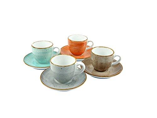 Creatable 17724Serie Vintage Nature, Vajilla Set 4Tazas de café (8Piezas, Porcelana, Multicolor, 15x 14,5x 19.5cm, 4Unidades