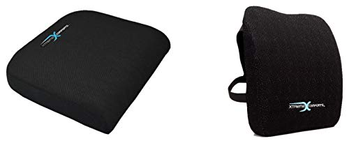Xtreme Comforts Desk Chair Cushion with Lumbar Support Pillow - Large Foam Padded Cushions with Handle for Travel, Wheelchairs, Office, Stadium & Driver Seat of Car or Truck