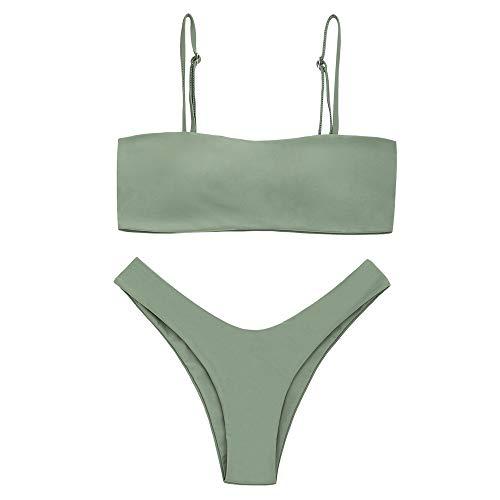 ZAFUL Damen Bandeau Spaghetti-Träger High Cut Bikini Set Beachwear Erbsengrün L