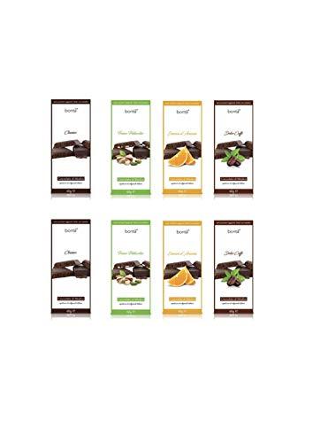Cioccolato di Modica senza aggiunta di zuccheri con Stevia | 8x60 gr. | Gusti: 2xFondente, 2xFondente-Caffè, 2xFondente-Arancio, 2xFondente-Pistacchio