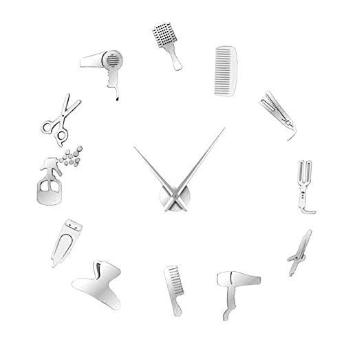 Generic ミラー壁時計diyフレームレス大3Dミラー壁のステッカーのためのホームオフィスの装飾 - シルバー
