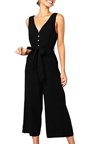 ECOWISH Womens Jumpsuits Casual Button Deep V Neck Sleeveless High Waist Wide Leg Jumpsuit Rompers with Pockets 272 Black Large