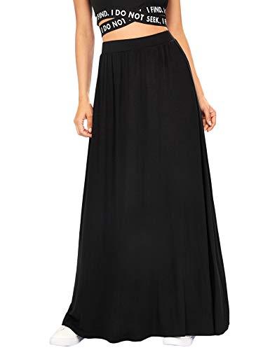 DIDK Femme Maxi Jupe Longue Chic Taille Haute Elastique Yoga Unicolore Vintage Casual De Large Ouverture Jupe Basique Mousseline Jupe Fluide Noir-S