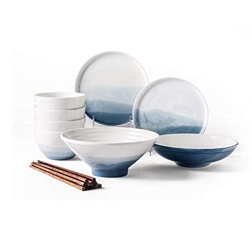 Elegante Juego de 12 Piezas de vajilla de vajilla de cerámica China en el hogar Que comen vajilla Combinación Comidas Diarias (Color : B)