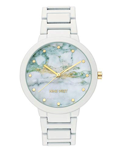 Nine West Women's NW/2274MAWT Rubberized White Bracelet Watch