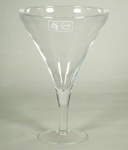 INNA-Glas Lot 3 x Verre à Martini - Verre à Cocktail Ivana sur Pied, Entonnoir - Rond, Transparent, 24,5cm, Ø17cm - Vase décoratif - Vase à Fleurs