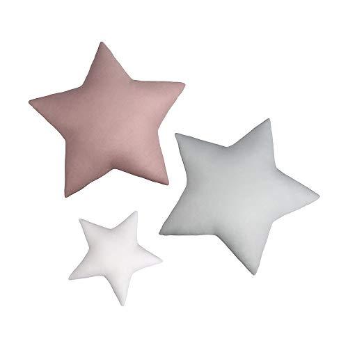 LULANDO 3 Cuscini a forma di stella, cuscino, stella, cuscino in cotone a tre colori per bambini, cuscino decorativo, decorazione unica della stanza, Standard 100 by Oeko-Tex – Clase I (Stars Basic)