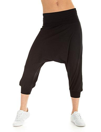 WINSHAPE Damen Trainingshose Dance Fitness Freizeit Sport Haremshose, Schwarz, L