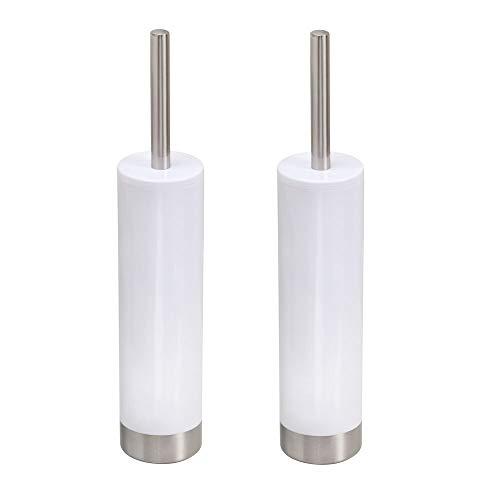 mDesign Juego de 2 escobillas de baño modernas con portaescobillas – Cepillos para inodoro estrechos – Escobillas de WC de plástico con detalles en acero inoxidable cepillado – blanco