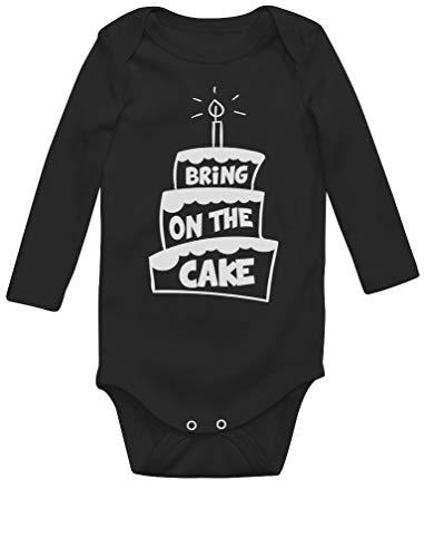 Green Turtle T-Shirts Anniversaire Bring on The Cake Body Bébé Manche Longue 6M Noir