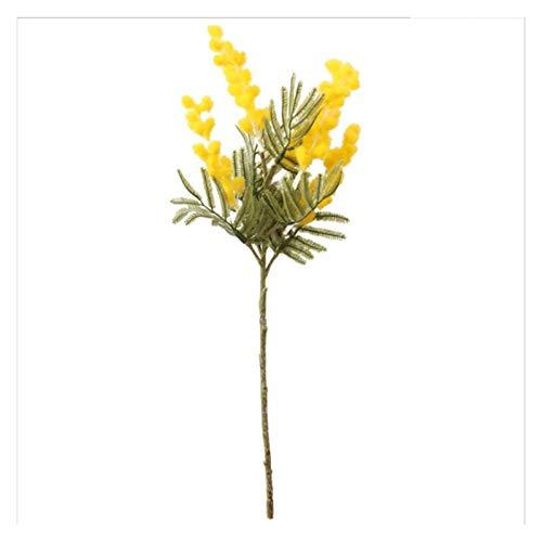 LEILEIMY Künstliche Blumen 38 cm gefälschte Acacia künstliche Blumen gelb Mimosa Spray Cherry Obst Zweig Hochzeit Home Tisch Dekoration falsche Blume Pflanze (Color : Yellow)