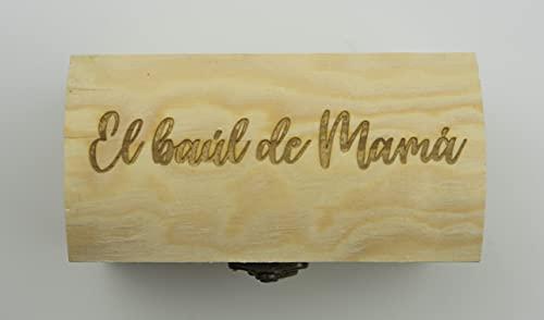 Pequeño baúl de madera personalizado para mamá. Grabado con la frase