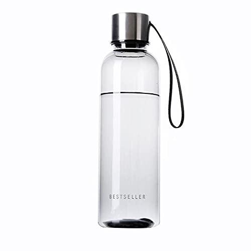 QQWA Botella de agua con cordón, para deportes al aire libre, portátil, plástico transparente, a prueba de fugas, contenedor de agua potable, 500 ml para deportes de viaje