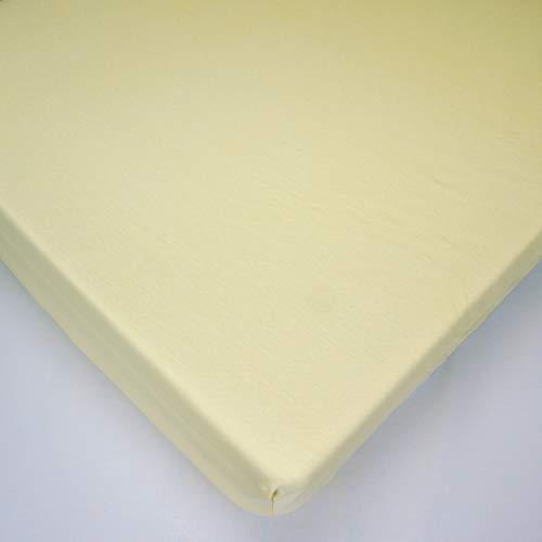 Jersey Amarillo Sábana bajera 100% algodón para colchón de cuna de bebé de 90 x 40 cm
