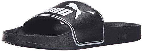 PUMA Men's Leadcat Slide Sandal, Black/White, 11 M US